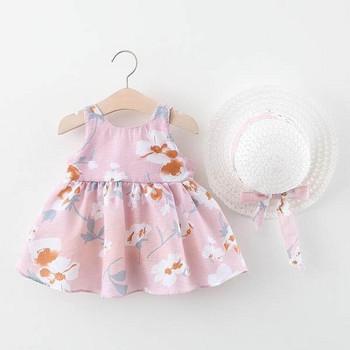 Нов модел цветна детска рокля с презрамки и панделка за момичета