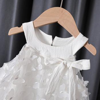 Модерна детска рокля с обло деколте и панделка за момичета