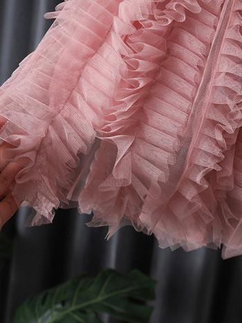 Модерна рокля с тюлена долна част за момичета