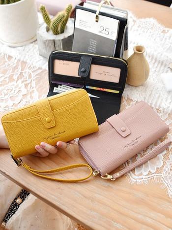 Πολυλειτουργικό γυναικείο πορτοφόλι  οικολογικό δερμάτινο με φερμουάρ