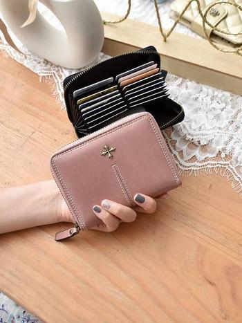 Γυναικείο έκο δερμάτινο πορτοφόλι με φερμουάρ - διάφορα χρώματα