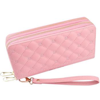 Γυναικείο έκο δερμάτινο πορτοφόλι με κέντημα - δύο διαμερίσματα
