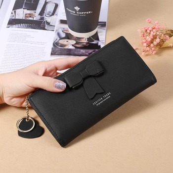Γυναικείο έκο δερμάτινο πορτοφόλι με κορδέλα και μεταλλικό μενταγιόν