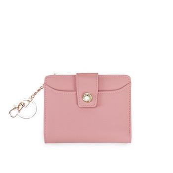 Έκο δερμάτινο μικρό γυναικείο πορτοφόλι  με μεταλλικό μενταγιόν