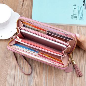 Λειτουργικό γυναικείο πορτοφόλι με φερμουάρ και κοντή λαβή