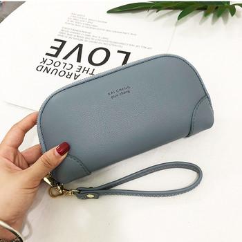 Γυναικείο έκο δερμάτινο πορτοφόλι με επιγραφή και λαβή