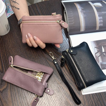 Γυναικείο έκο δερμάτινο πορτοφόλι με φερμουάρ και λαβή