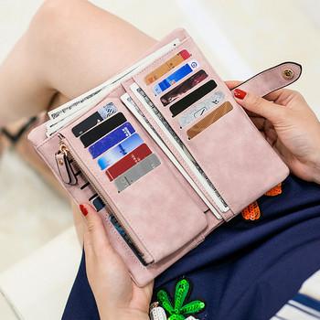 Γυναικείο πορτοφόλι με τσέπη με κέρματα και διαμερίσματα εγγράφων - έκο δέρμα