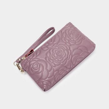 Γυναικείο έκο δερμάτινο πορτοφόλι με λαβή και φερμουάρ