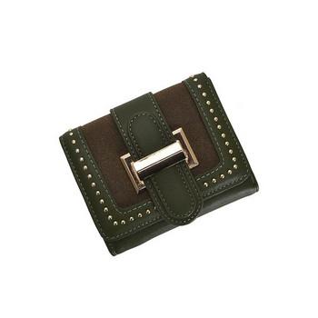 Γυναικείο πορτοφόλι με μεταλλική αγκράφα και τρουξ