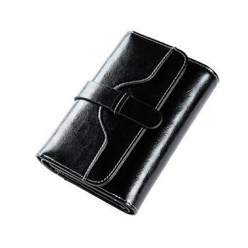 Γυναικείο πορτοφόλι από οικολογικό δερμάτινο απλό μοντέλο με μεταλλική στερέωση