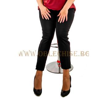 Черен макси еластичен панталон с кант