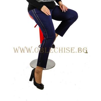 Тъмно син макси еластичен панталон с кант