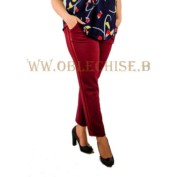 Макси еластичен панталон с кант /бордо/