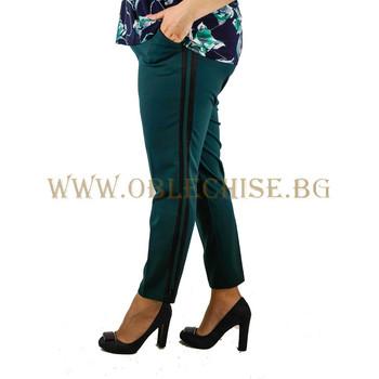 Макси еластичен панталон с кант /зелен/