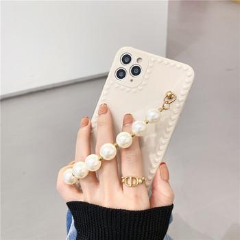 Силиконов калъф за Iphone с перлена дръжка за ръка