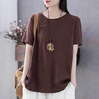 Ежедневна дамска блуза с къс ръкав - свободен модел