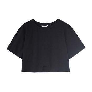 Къса дамска тениска с асиметрично закопчаване