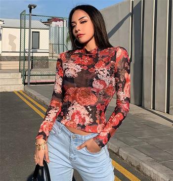 Нов модел дамска блуза с дълъг ръкав и флорлен десен