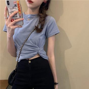 Дамска тениска набрана отстрани с къс ръкав