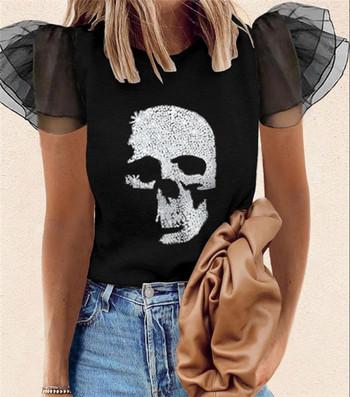 Дамска ежедневна блуза с камъни и тюл