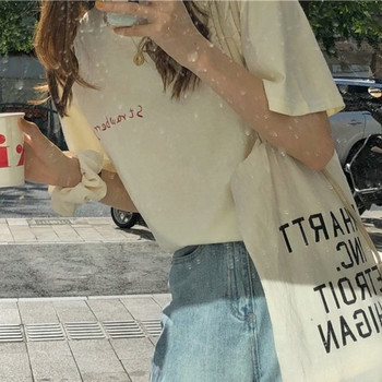 Дамска широка тениска с апликация на гърба и 3/4 ръкав