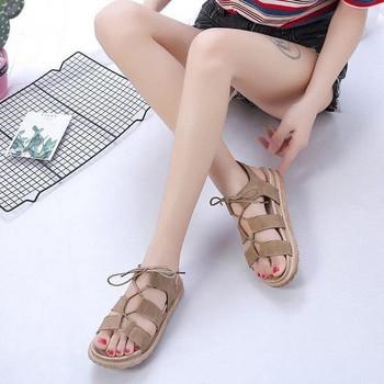 Дамски сандали с връзки от еко велур