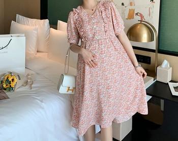 Μοντέρνο γυναικείο φόρεμα με λουλουδάτο μοτίβο για εγκύους