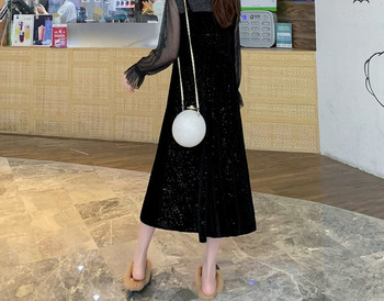 Γυναικείο κομψό μακρύ φόρεμα με μακριά μανίκια για έγκυες γυναίκες