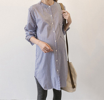 Μοντέρνο γυναικείο μακρύ ριγέ πουκάμισο για έγκυες γυναίκες