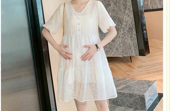 Κομψό γυναικείο κοντό φόρεμα με οβάλ ντεκολτέ για έγκυες γυναίκες