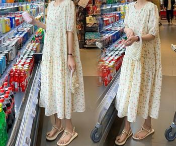 Γυναικείο casual μακρύ φόρεμα με λουλουδάτο μοτίβο για έγκυες γυναίκες