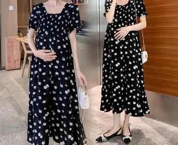 Μοντέρνο γυναικείο φόρεμα με λουλουδάτο μοτίβο και κοντά μανίκια για έγκυες γυναίκες