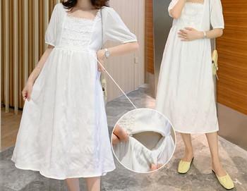 Γυναικείο κομψό φόρεμα με τετράγωνο ντεκολτέ για έγκυες γυναίκες
