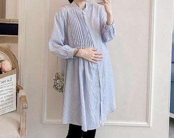 Κομψό γυναικείο μακρύ ριγέ πουκάμισο για έγκυες γυναίκες