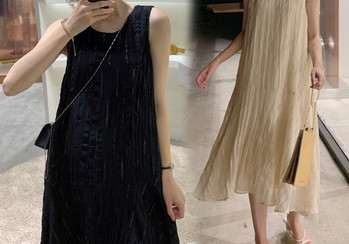 Κομψό γυναικείο μακρύ φόρεμα φαρδύ μοντέλο για έγκυες γυναίκες