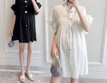 Κοντό γυναικείο κοντό φόρεμα με κουμπιά για έγκυες γυναίκες