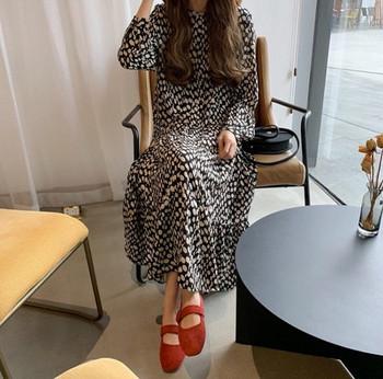 Γυναικείο κομψό μακρύ φόρεμα με μακριά μανίκια και οβάλ λαιμόκοψη για εγκύους