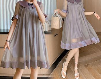 Γυναικείο τοπικό φόρεμα με οβάλ ντεκολτέ για έγκυες γυναίκες