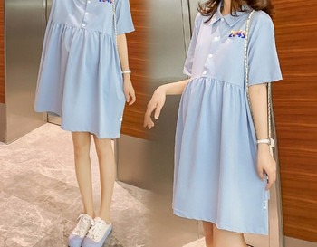 Γυναικείο μοντέρνο κοντό φόρεμα με κουμπιά για έγκυες γυναίκες