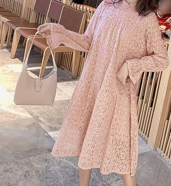 Κομψό γυναικείο φόρεμα με ψηλό γιακά και μακριά μανίκια για έγκυες γυναίκες