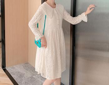 Κομψό γυναικείο δαντελωτό  φόρεμα με μακριά μανίκια και κουμπιά για έγκυες γυναίκες