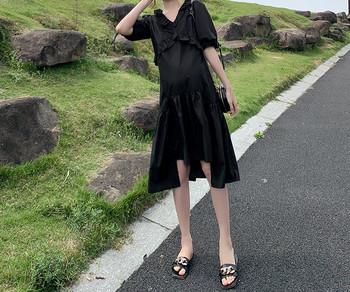 Κομψό φόρεμα με κορδόνια και λαιμόκοψη για εγκύους