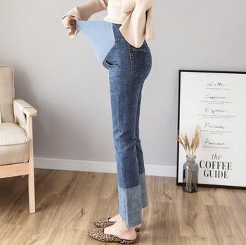 Κομψά γυναικεία τζιν ίσιο μοντέλο για έγκυες γυναίκες