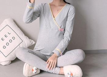 Σύγχρονες γυναικείες πιτζάμες με μακριά μανίκια για έγκυες γυναίκες