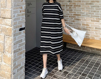 Casual ριγέ μακρύ φόρεμα για έγκυες γυναίκες