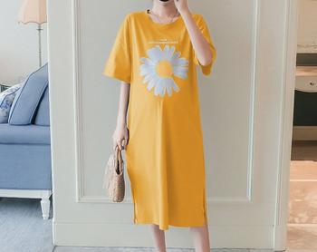 Casual μακρύ φόρεμα με απλικέ και οβάλ λαιμόκοψη για εγκύους