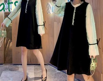 Κομψό γυναικείο φόρεμα με κορδόνια και στρογγυλή λαιμόκοψη για εγκύους