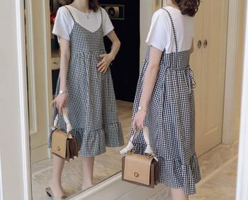 Μοντέρνο καρό μακρύ φόρεμα για έγκυες γυναίκες