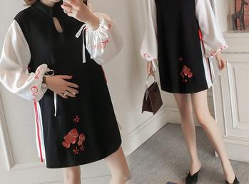 Μοντέρνο κοντό φόρεμα με μακριά μανίκια για έγκυες γυναίκες